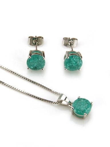 Platinum  green zircon Brass Cubic Zirconia Vintage Geometric  Earring and Necklace Set