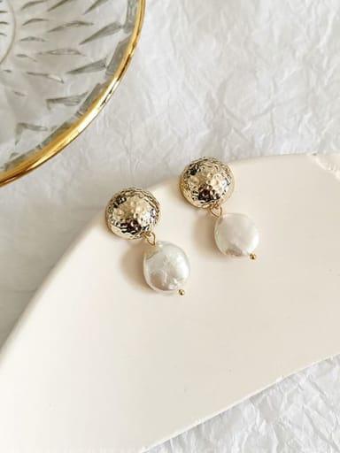14K gold Copper Freshwater Pearl Geometric Ethnic Drop Earring