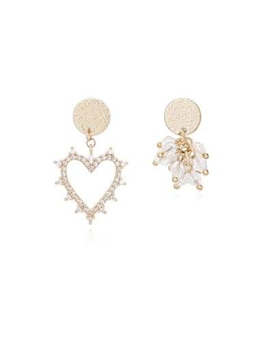 Copper Cubic Zirconia Heart Minimalist Stud Earring