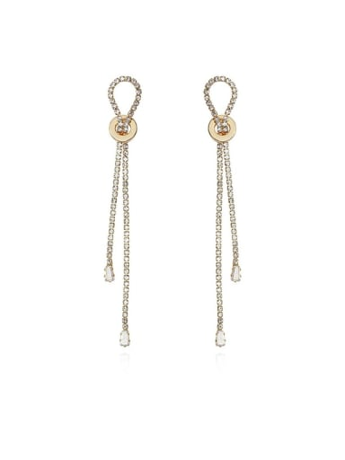 Copper Cubic Zirconia Water Drop Dainty Threader Earring