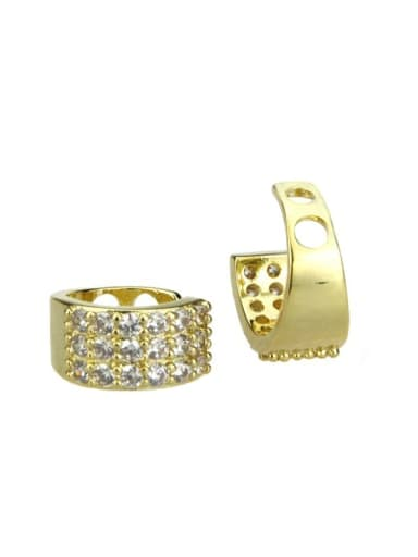 gold-plated Brass Cubic Zirconia Round Vintage Clip Earring