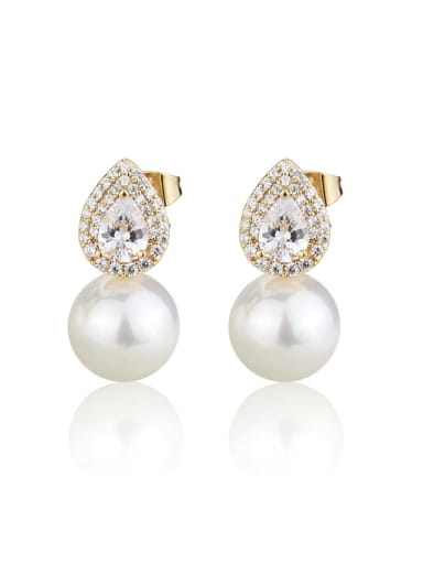 Brass Imitation Pearl Water Drop Luxury Stud Earring