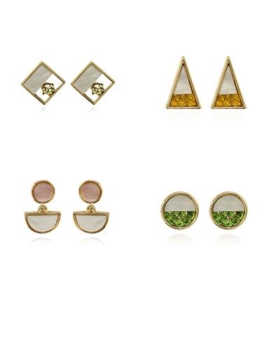Copper Shell Round Minimalist Stud Earring