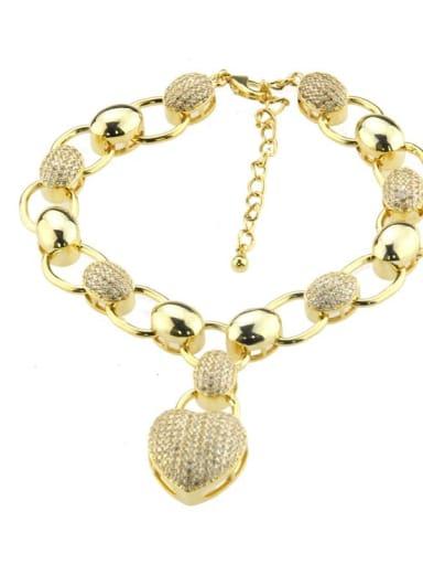 Brass Cubic Zirconia Heart Luxury Bracelet