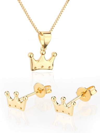 Brass  Crown Earring and Necklace Set