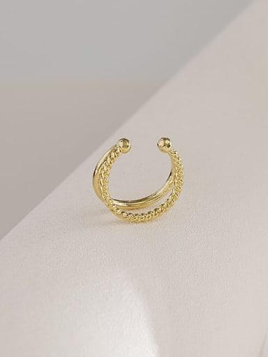 14K-golden Copper Geometric Trend Stackable Ring