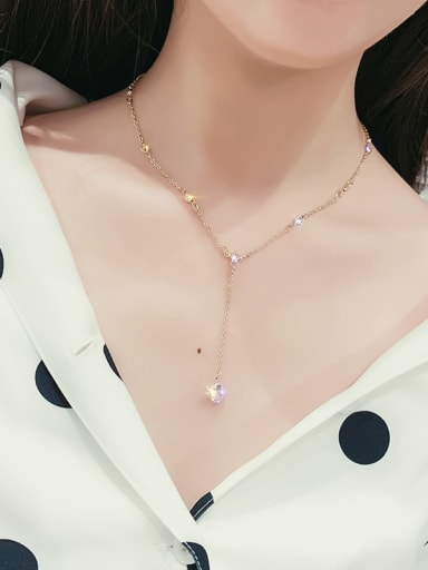Copper Alloy Cubic Zirconia White Trend Lariat Necklace