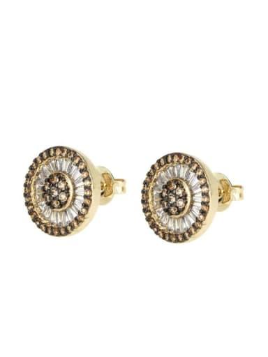 Brass Cubic Zirconia Round Vintage Stud Earring