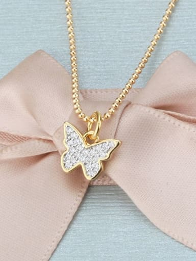 Gold plated white zirconium Brass Cubic Zirconia Butterfly Dainty Necklace