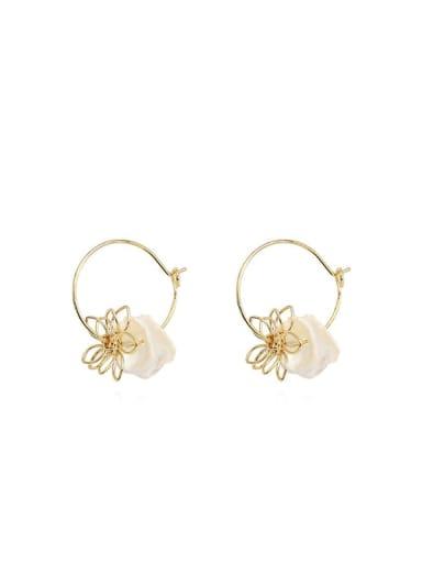 Copper Shell Flower Minimalist Huggie Earring