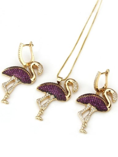 Gold Plated Flamingo suit Brass Flamingo Cubic Zirconia Earring and Necklace Set
