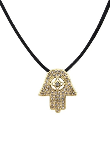 Brass Cubic Zirconia Leather Religious Vintage Necklace