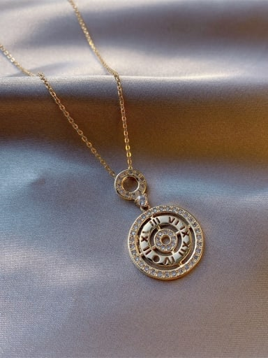 Zinc Alloy Rhinestone White Number Trend Initials Necklace