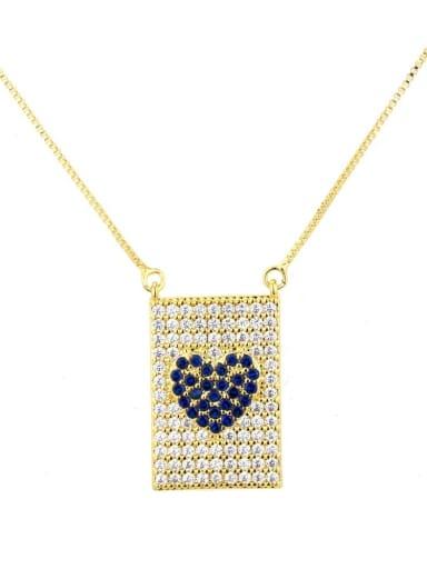 Gold Plated Blue Zircon Brass Cubic Zirconia Heart Dainty Necklace