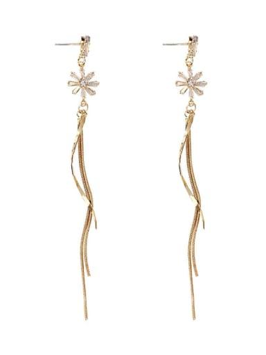 Alloy Rhinestone Tassel Minimalist Threader Earring