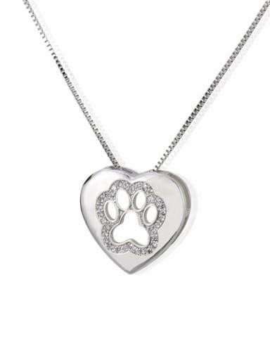 Platinum plating Brass Cubic Zirconia Heart Dainty Necklace