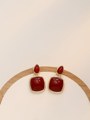 Dark red Copper Water Drop Minimalist Drop Earring