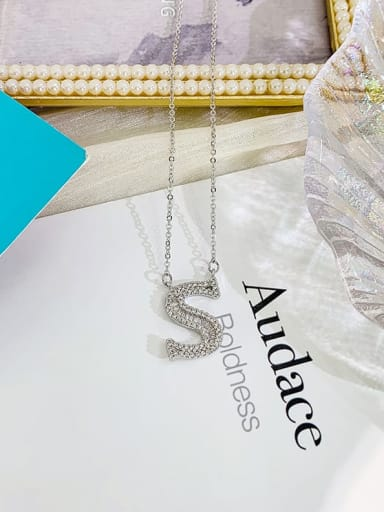 S Zinc Alloy Rhinestone Letter Classic Initials Necklace