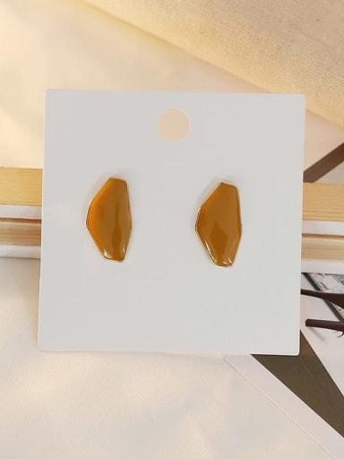 Light coffee Copper Enamel Geometric Ethnic Stud Earring