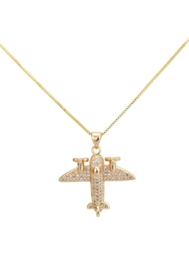Brass cubic zirconia  vintage aircraft Pendant Necklace