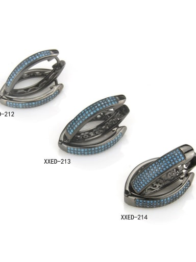 Brass Cubic Zirconia Round Vintage Huggie Earring