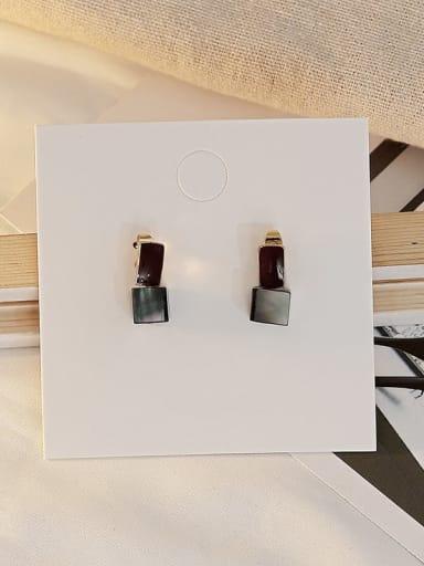 Royal Blue Black Copper Shell Geometric Minimalist Stud Earring