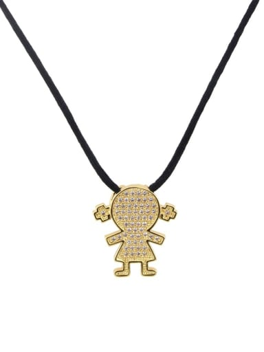 Brass Cubic Zirconia Leather Cute Girl Pendant  necklace
