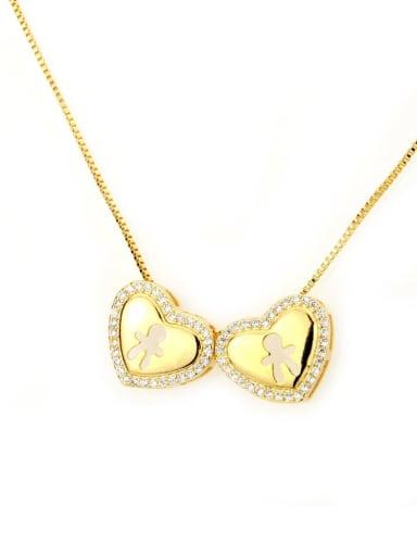Gilded man Brass Cubic Zirconia Heart Dainty Necklace