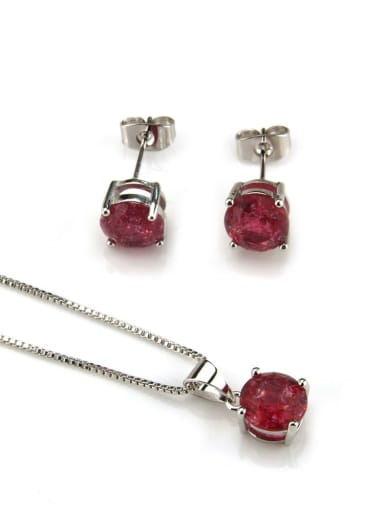 Red zircon  with platinum Brass Cubic Zirconia Vintage Geometric  Earring and Necklace Set