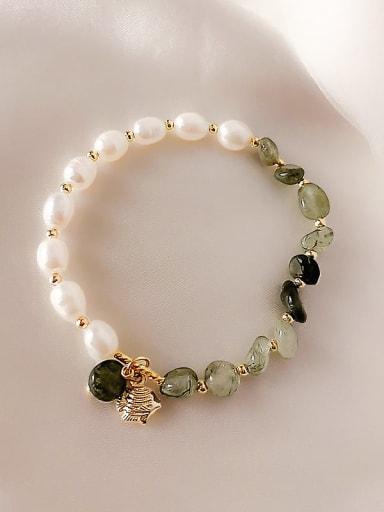 Green Crystal Bracelet Alloy Imitation Pearl Irregular Ethnic Adjustable Bracelet