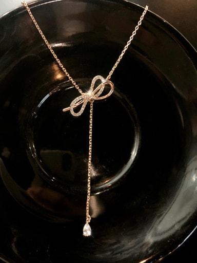Zinc Alloy Rhinestone White Bowknot Trend Lariat Necklace