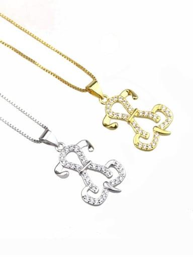 Brass Cubic Zirconia Dog Dainty Necklace