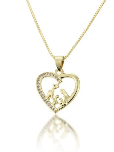 Brass Cubic Zirconia Heart Pendant  Necklace