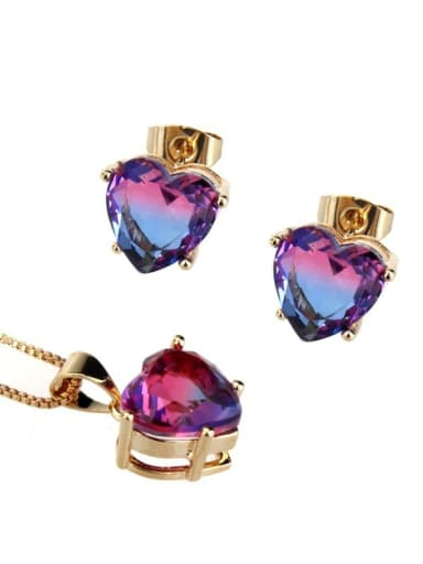 Brass Cubic Zirconia Dainty Heart  Earring and Necklace Set