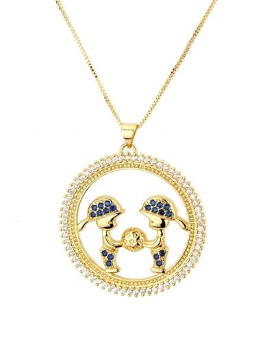 Two boys with zirconium blue Brass Cubic Zirconia Round Cute boy girl  Pendant Necklace