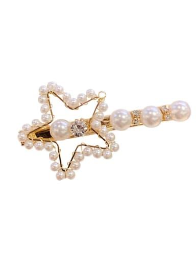 Cute Star Mixed Metal Imitation Pearl White Hair Pin
