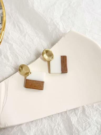 Log color Copper Shell Geometric Minimalist Drop Earring