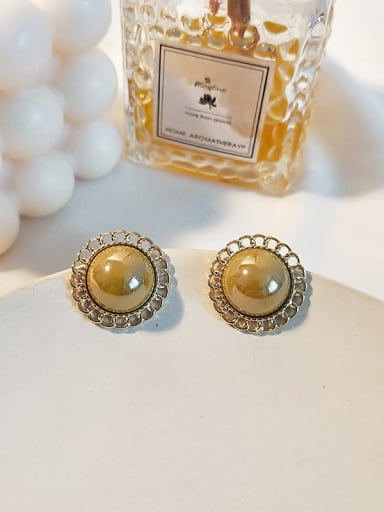 14K turmeric Copper Imitation Pearl Flower Ethnic Stud Earring