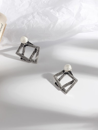 Ancient silver Copper Hollow Geometric Vintage Stud Earring