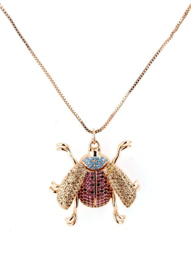 Rose gold plating Brass Cubic Zirconia Insect Cute Necklace
