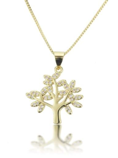 Brass Cubic Zirconia Tree Leaf Pendant  Necklace