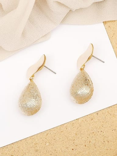 14K  gold Copper Smooth Water Drop Minimalist Drop Earring