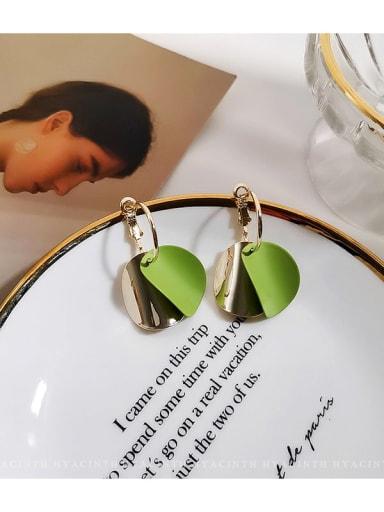 Avocado Copper Enamel Geometric Minimalist Huggie Earring