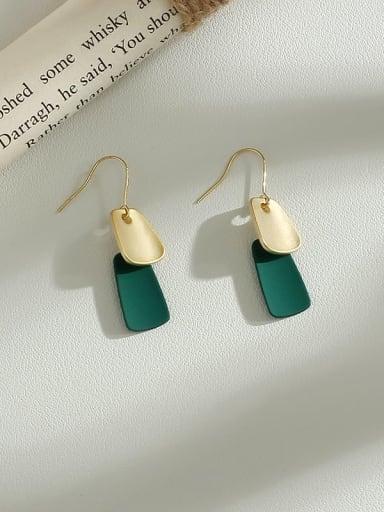 green Copper Enamel Geometric Minimalist Hook Earring