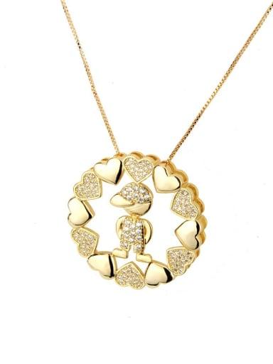 White zirconium boy Brass Cubic Zirconia Heart Dainty Necklace