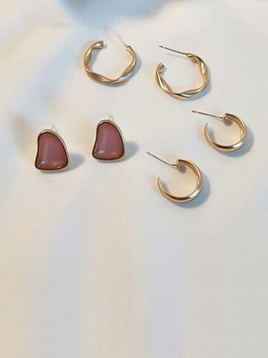 Dumb kumquat Pink Copper Enamel Geometric Vintage Stud Earring