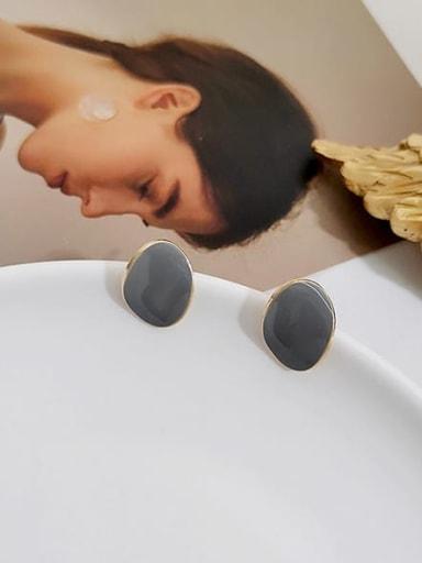 14K  gold grey Copper Enamel Geometric Minimalist Stud Earring