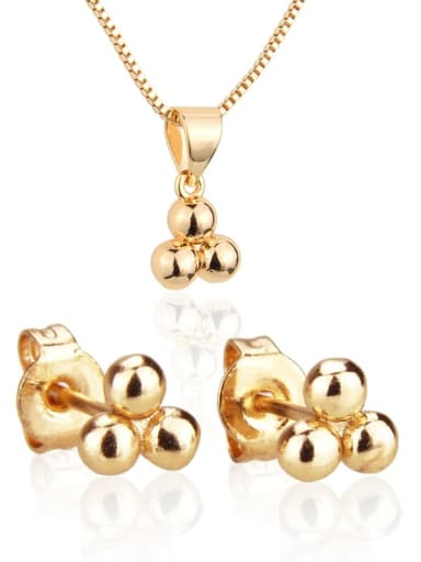 Brass Cubic Zirconia Minimalist Round Ball  Earring and Necklace Set
