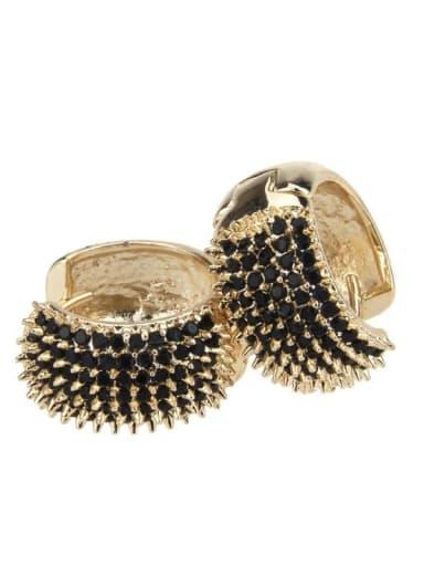 Large gold-plated black zircon Brass Cubic Zirconia Round Minimalist Hoop Earring