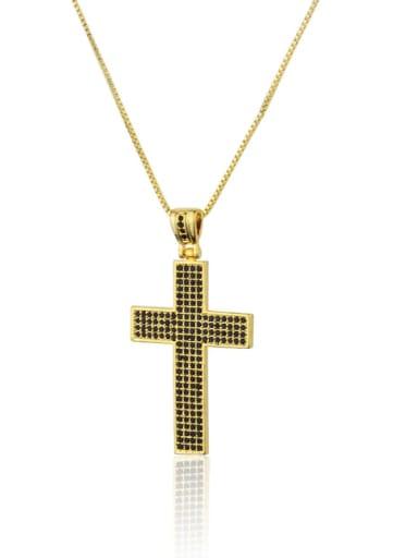 Gold Plated Black zircon Brass Cubic Zirconia Religious Dainty Necklace